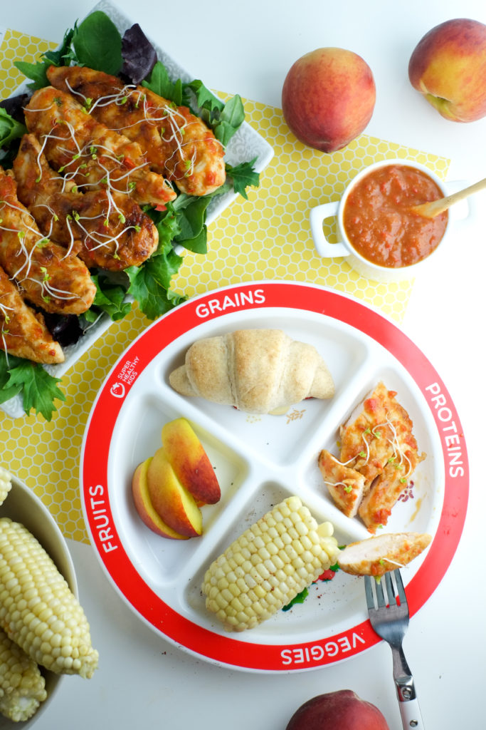 Easy summer meal: peach BBQ chicken, corn on the cob, and rolls!