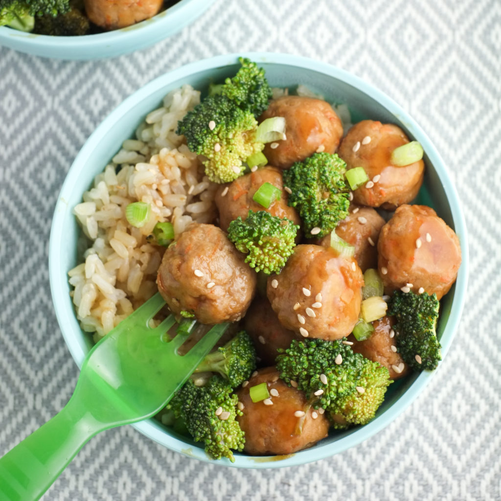 "Kids love mini meatballs and ""tiny trees"" lathered in teriyaki sauce."