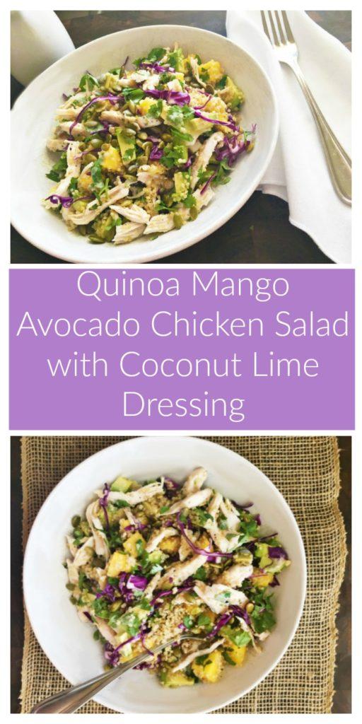 Quinoa Mango Avocado Chicken Salad with Coconut Lime Dressing
