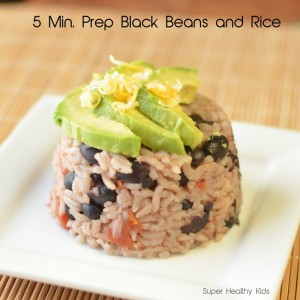 5 Minute Black Beans and Rice with Freezer Beans