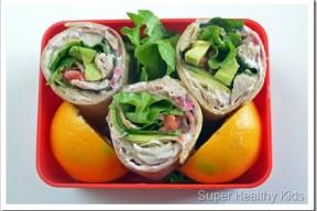 healthy lunch box turkey wrap