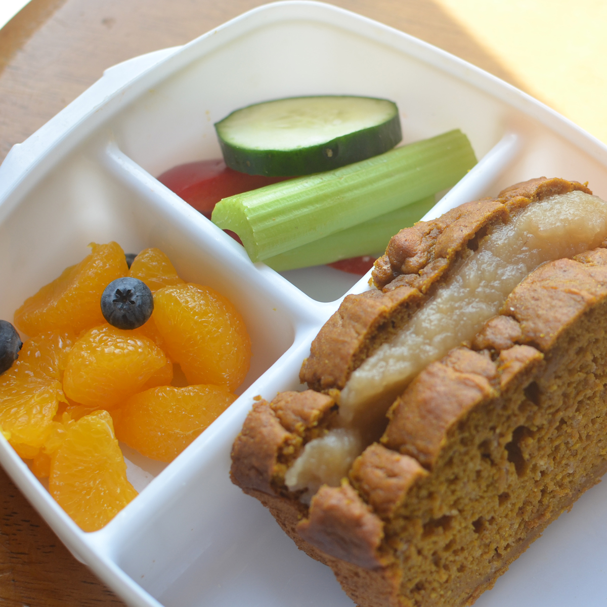 Pumpkin bread sandwiches with applesauce and celery for What to make with leftover applesauce