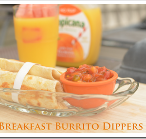 Balanced Breakfast: Burrito Dippers and Orange Juice