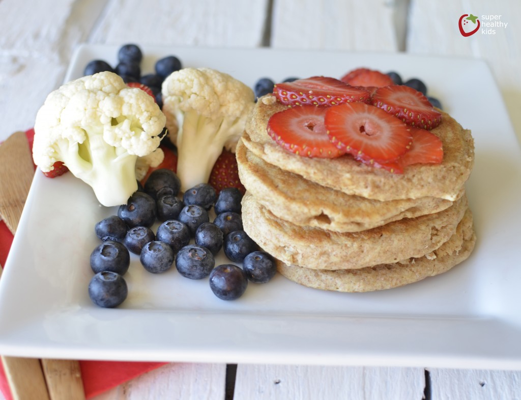 Fluffy Cauliflower Pancakes. Make your kids favorite food & increase vitamin C, fiber, and antioxidants!