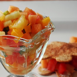 Triple Melon Salsa Snacks