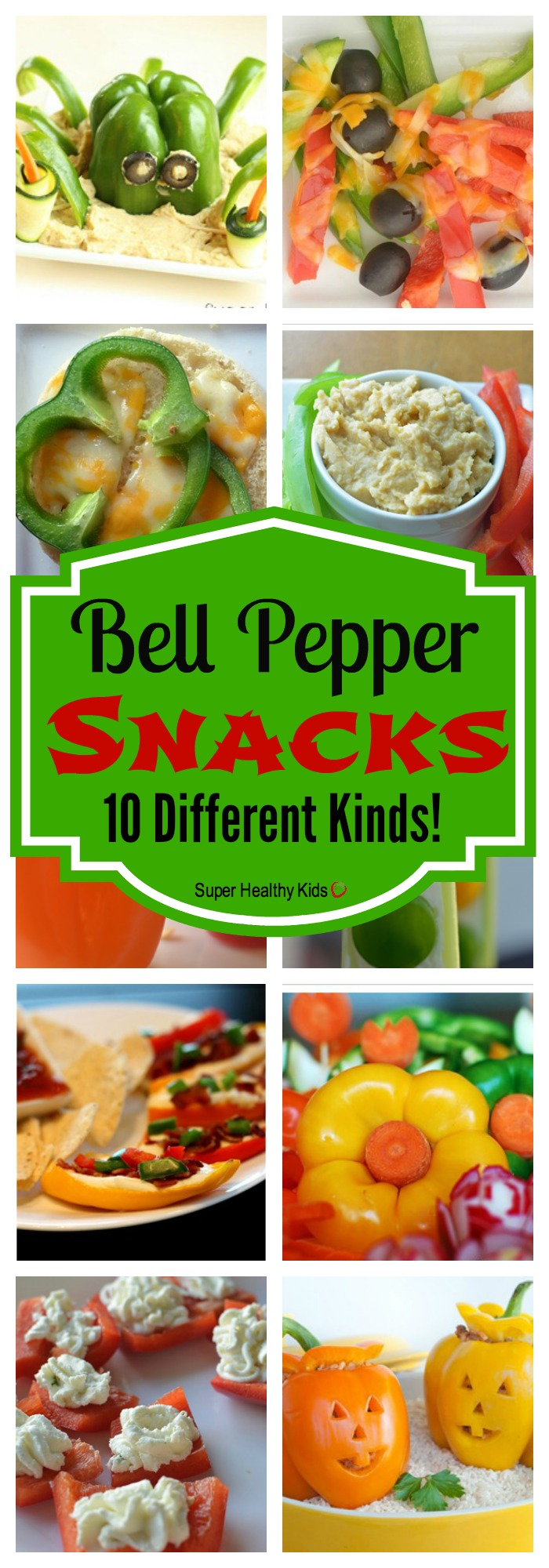 FOOD - 10 Bell Pepper Snacks. Bell peppers are super versatile...here are our 10 favorite snacks! http://www.superhealthykids.com/10-delicious-snacks-with-bell-peppers/