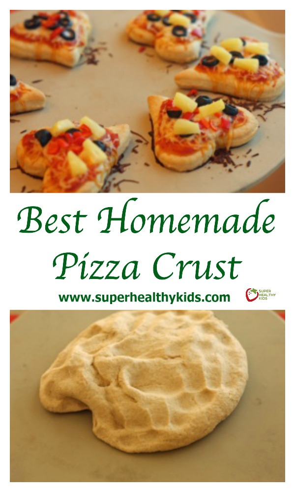 FOOD - Best Homemade Pizza Crust. Easiest and most delicious homemade pizza crust. http://www.superhealthykids.com/best-homemade-pizza-crust/