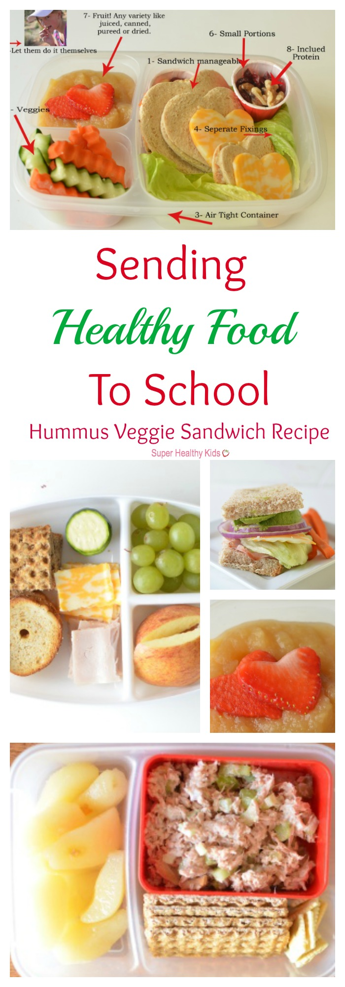 Sending Healthy Food To School {Hummus Veggie Sandwich Recipe}. Cuteness aside, there are some solid packing tips here for you! No Heart cutters necessary! http://www.superhealthykids.com/sending-healthy-food-to-school-hummus-veggie-sandwich/