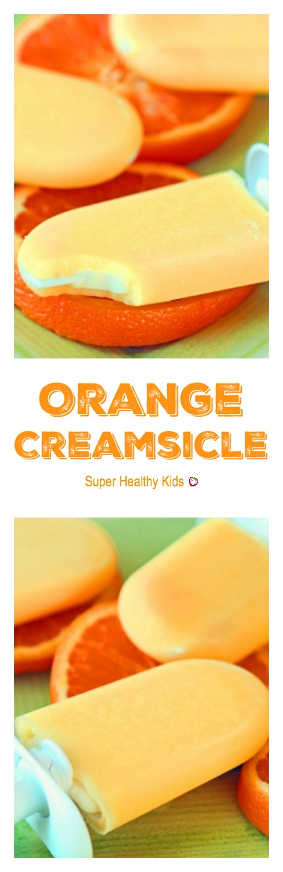 Orange Creamsicle - Orange coating with a creamy center! This popsicle is easier than it looks! www.superhealthykids.com/orange-creamsicles-and-zoku-pop-maker
