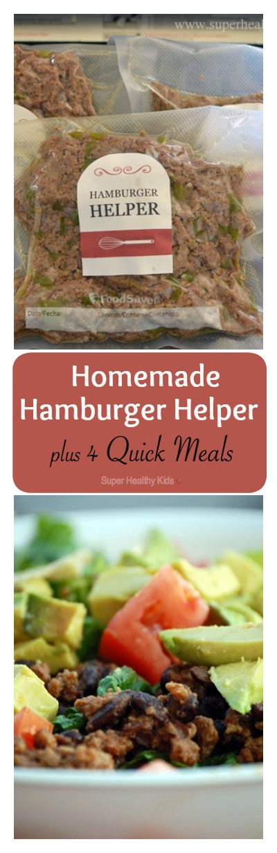 4 Quick Meals with Homemade Hamburger Helper. Make your meat once, and use it for four different dinners- Such a time saver! http://www.superhealthykids.com/4-quick-meals-with-homemade-hamburger-helper/