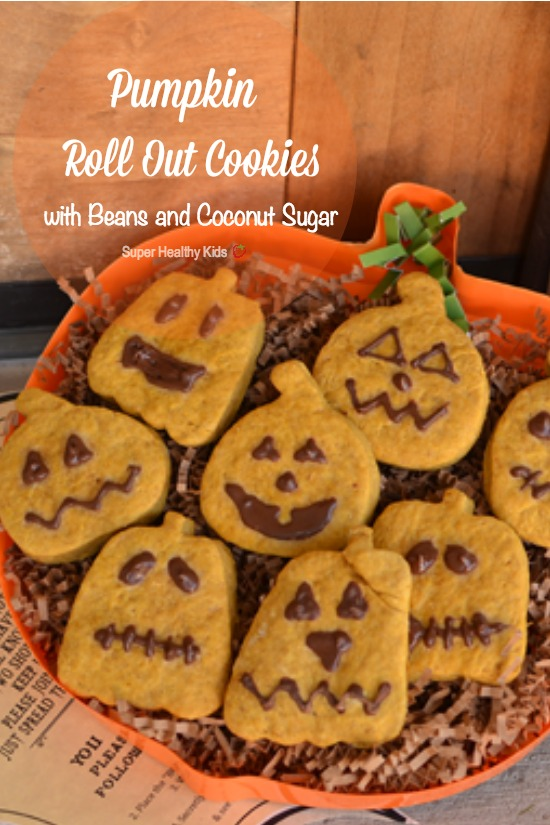 Pumpkin Roll Out Cookies with Beans and Coconut Sugar. Spook & get spooked this Halloween with these delicious pumpkin cookies! http://www.superhealthykids.com/pumpkin-roll-out-cookies-with-beans-and-coconut-sugar/