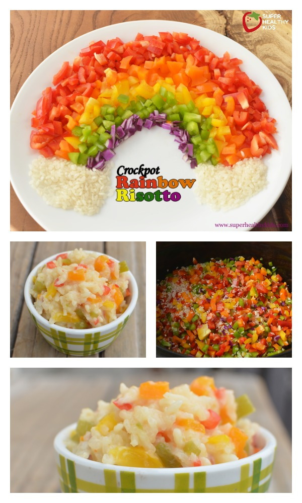 FOOD - Crockpot Rainbow Risotto. We love rainbow food! The more colors you get in your diet, the more variety of vitamins and minerals you will get. http://www.superhealthykids.com/crockpot-rainbow-risotto-with-peppers/