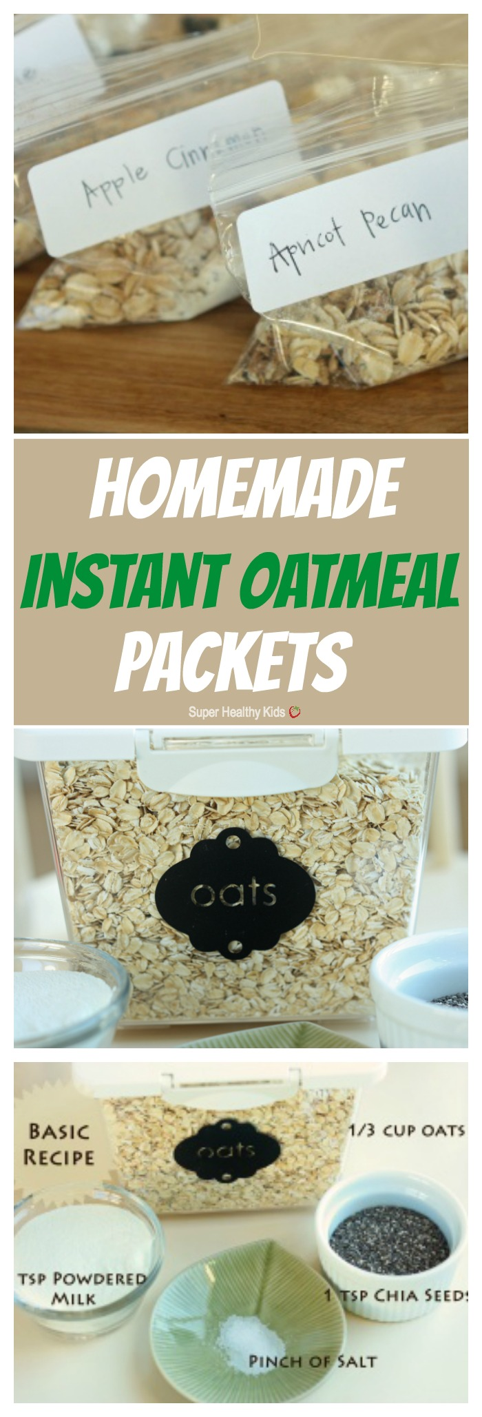 FOOD - Homemade Instant Oatmeal Packets. For a healthy, quick, and inexpensive breakfast, making your own homemade oatmeal packets is the way to go! https://www.superhealthykids.com/homemade-instant-oatmeal-packets/
