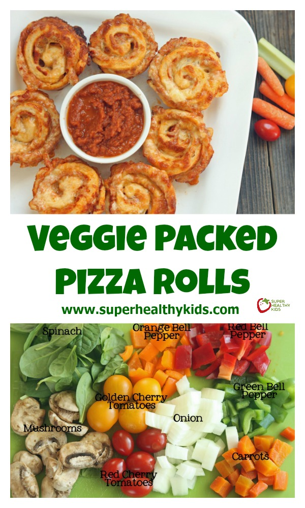 Veggie Packed Pizza Roll Recipe. Pack the veggies INSIDE your pizza! http://www.superhealthykids.com/veggie-packed-pizza-rolls/