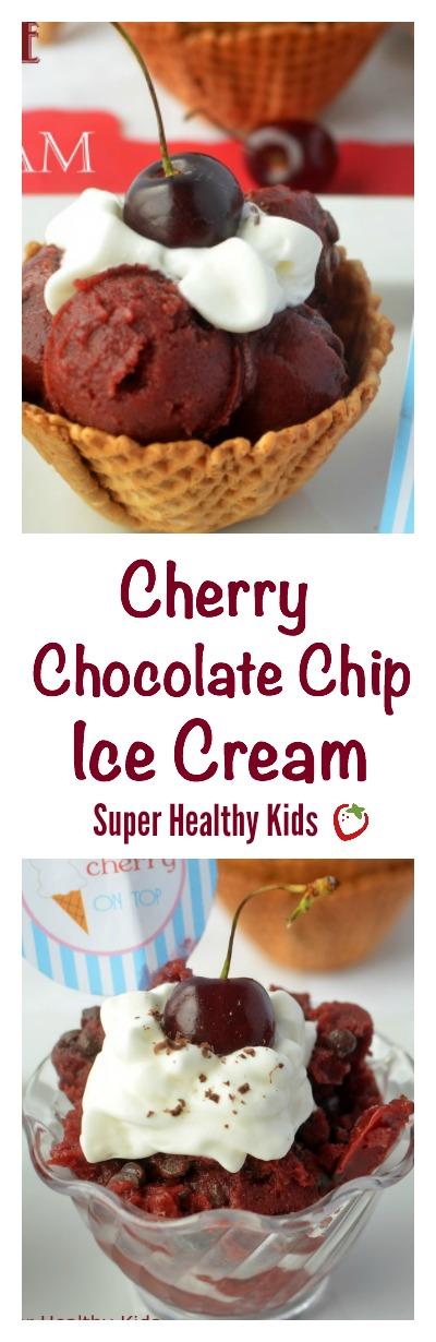Cherry Chocolate Chip Ice Cream Recipe. Ice Cream that tastes so fresh, you'll think it's summer!