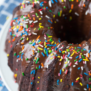 Chocolate Zucchini Sprinkle Bundt Cake