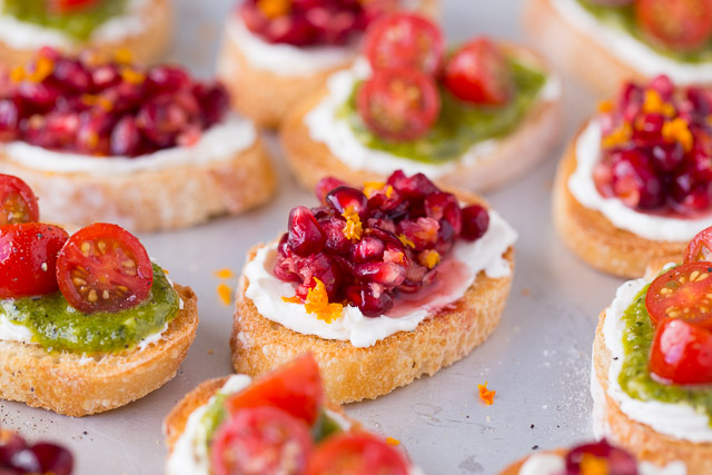 Festive Bruschetta with pomegranate and cranberries