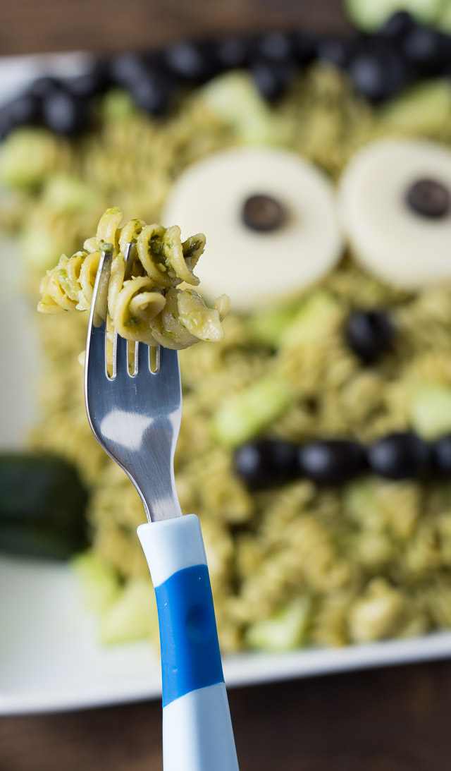 Simple Halloween Frankenstein Pasta