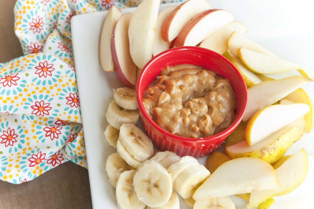 Healthy Peanut Butter Dip for fruit with chunky peanut butter