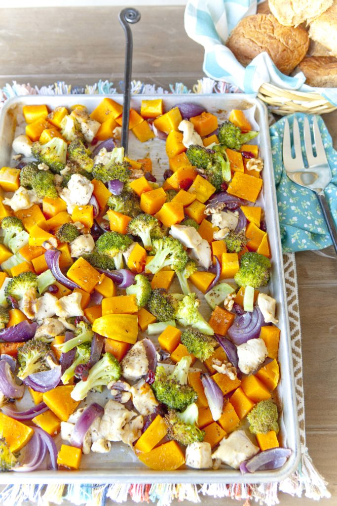 Chicken and Fall Roasted Veggies Sheet Pan Dinner