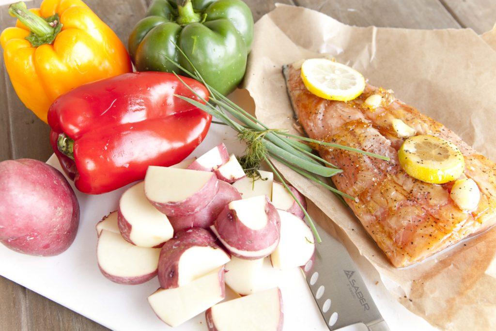 salmon with roasted potato