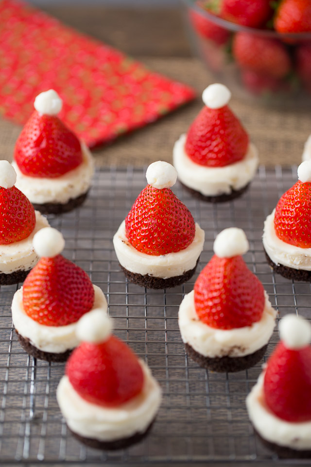 Mini No-Bake Santa Cheesecakes, they look like santa hats!