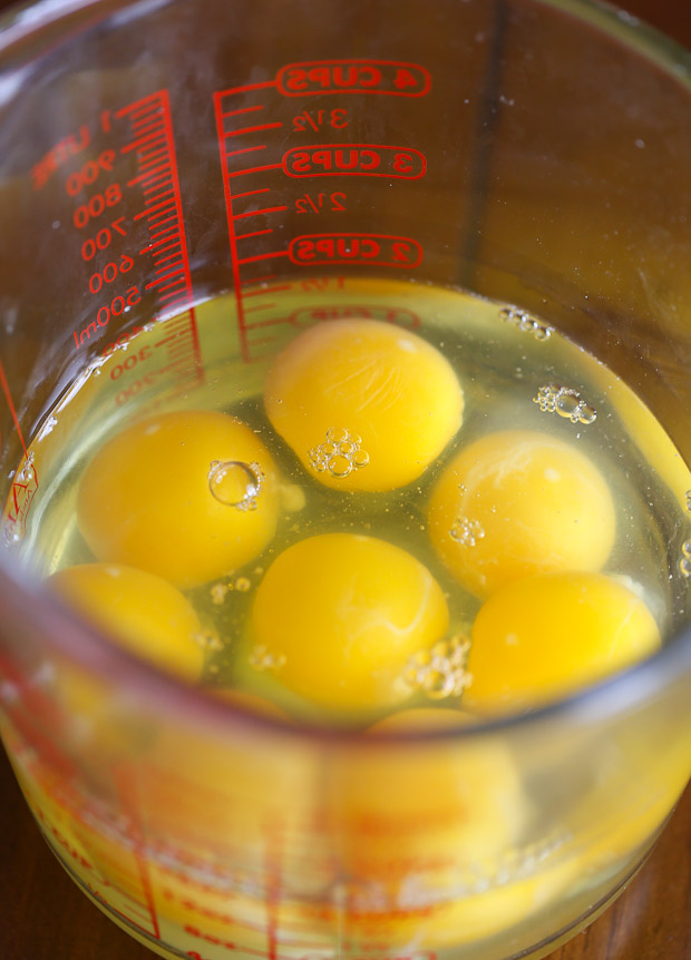How to make Protein Packed Breakfast Burritos, eggs in a measuring bowl