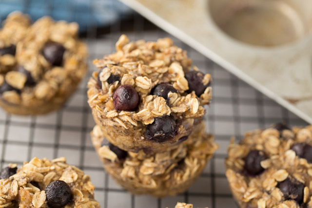 Baked Blueberry Oatmeal Cups for an east breakfast on the go