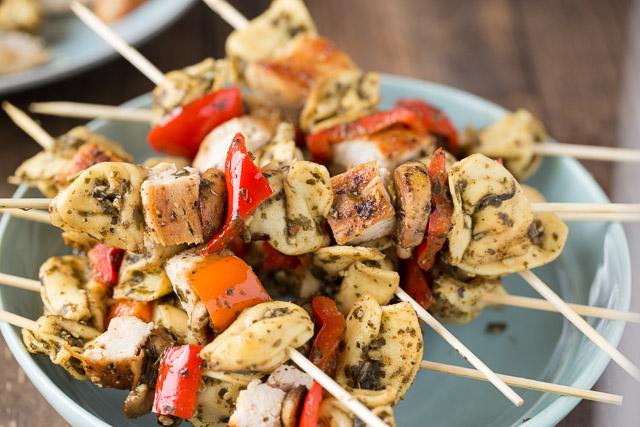 Chicken Pesto Kebabs