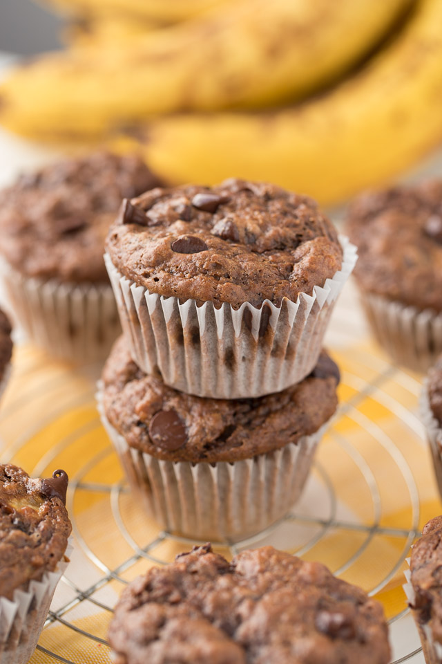 Chunky Monkey Muffins with dark chocolate chips