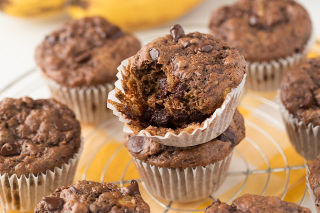 Healthy Chunky Monkey Muffins, half eaten