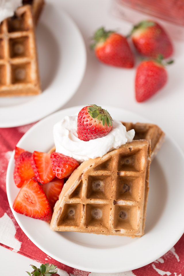 Strawberry Waffles the kids will LOVE! Healthy Strawberry Waffles