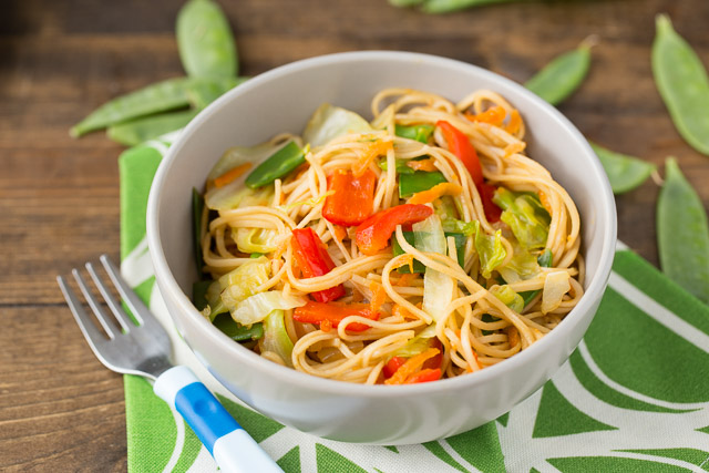 Veggie Stuffed Chow Mein Bowls for kids