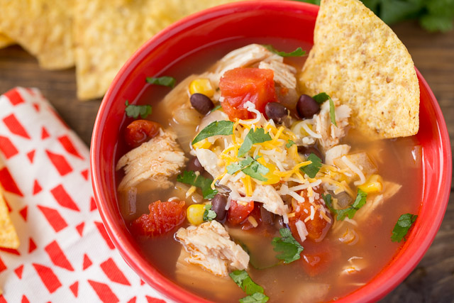 My kids are in love with this Slow Cooker Chicken Tortilla Soup