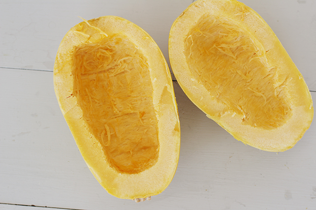 spaghetti squash with seeds scooped out