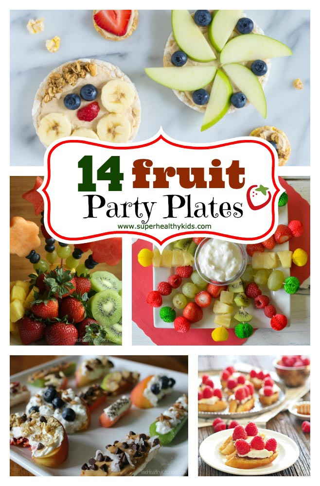 FOOD - 14 Fruit Party Plates. Fruit is our favorite thing to bring to potlucks and parties! Check out our 14 fruit platter ideas here. http://www.superhealthykids.com/14-fruit-party-platters/