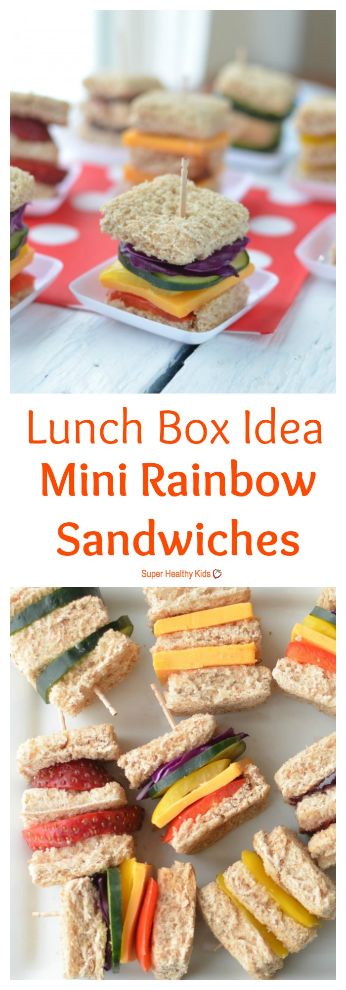 FOOD - Lunch Box Idea: Mini Rainbow Sandwiches. Lunch box idea using a variety of fruits and veggies for mini sandwiches. http://www.superhealthykids.com/lunch-box-idea-mini-rainbow-sandwiches/