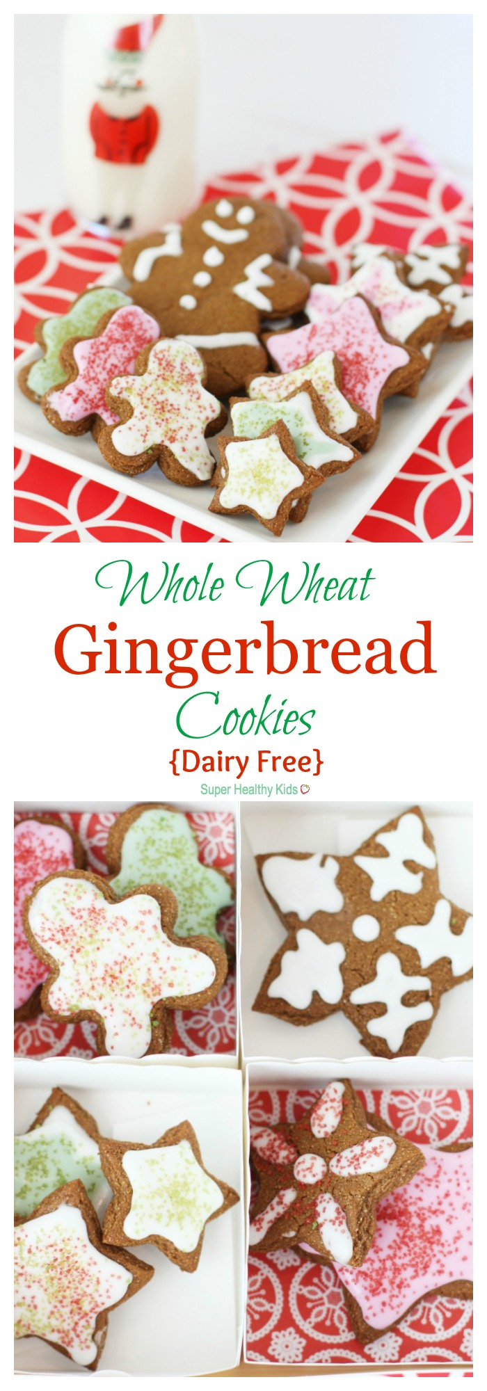 Whole Wheat Gingerbread Cookies {Dairy Free}. You won't be able to tell the difference! http://www.superhealthykids.com/whole-wheat-gingerbread-cookies-dairy-free/