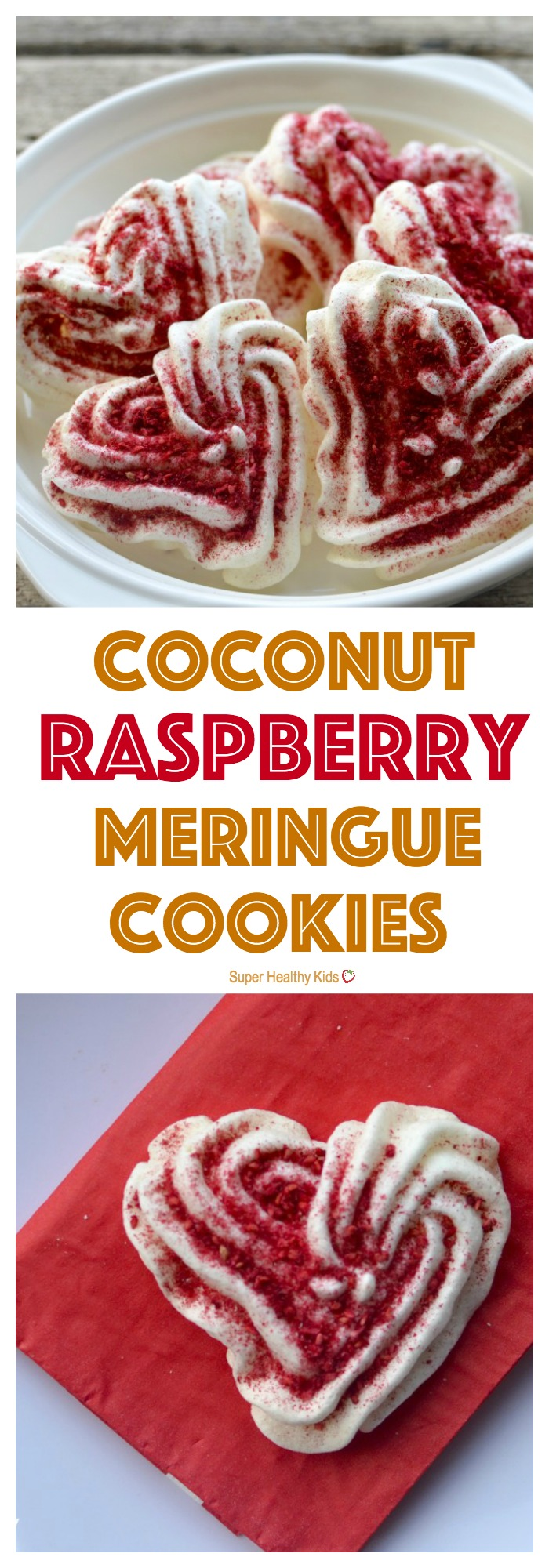 FOOD - Coconut Raspberry Meringue Cookies. Light and fluffy meringue cookies that melt in your mouth! http://www.superhealthykids.com/coconut-raspberry-meringue-cookies/
