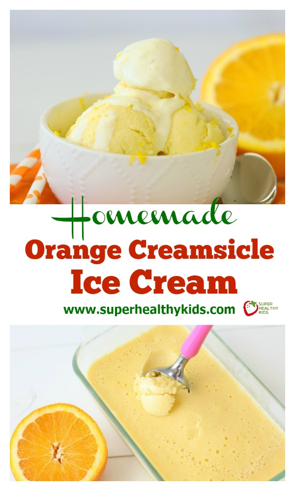 FOOD - Homemade Orange Creamsicle Ice Cream. Refreshing and made with real fruit, try our orange creamsicle ice cream today! www.superhealthykids.com/homemade-orange-creamsicle-ice-cream