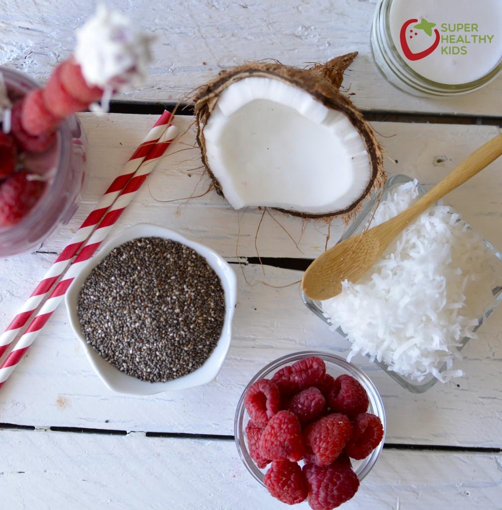 COCONUT RASPBERRY CHIA SMOOTHIE! Full of good stuff, like omega 3 fatS!