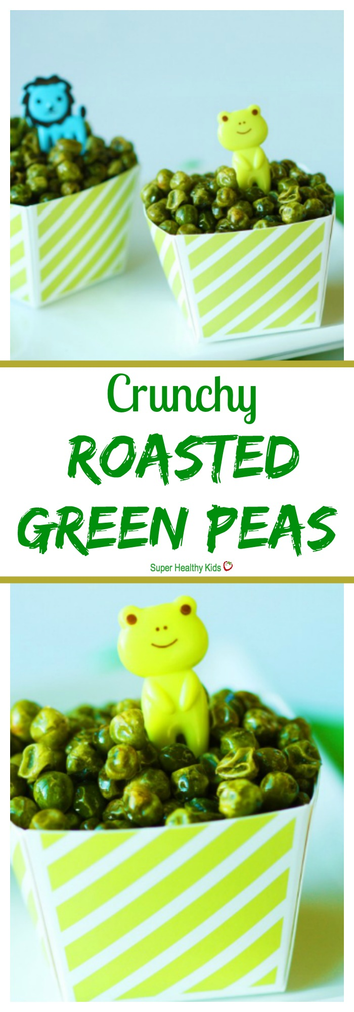 FOOD - Crunchy Roasted Green Peas. Crunchy snack for toddlers! https://www.superhealthykids.com/crunchy-roasted-green-peas/