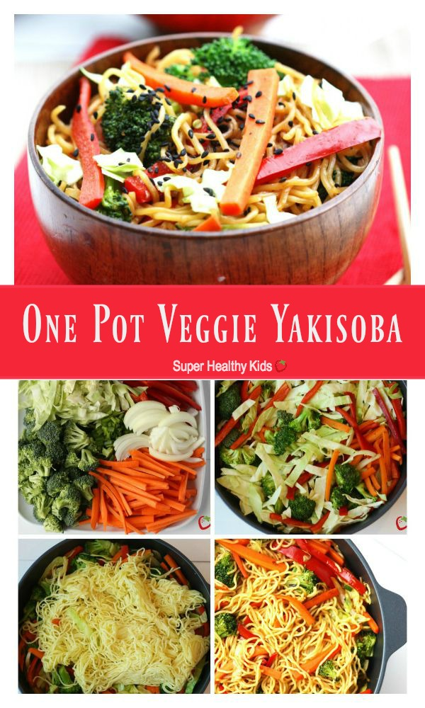 FOOD - One Pot Veggie Yakisoba. A quick dinner idea that are sure to get the kids eating more vegetables. http://www.superhealthykids.com/one-pot-veggie-yakisoba/