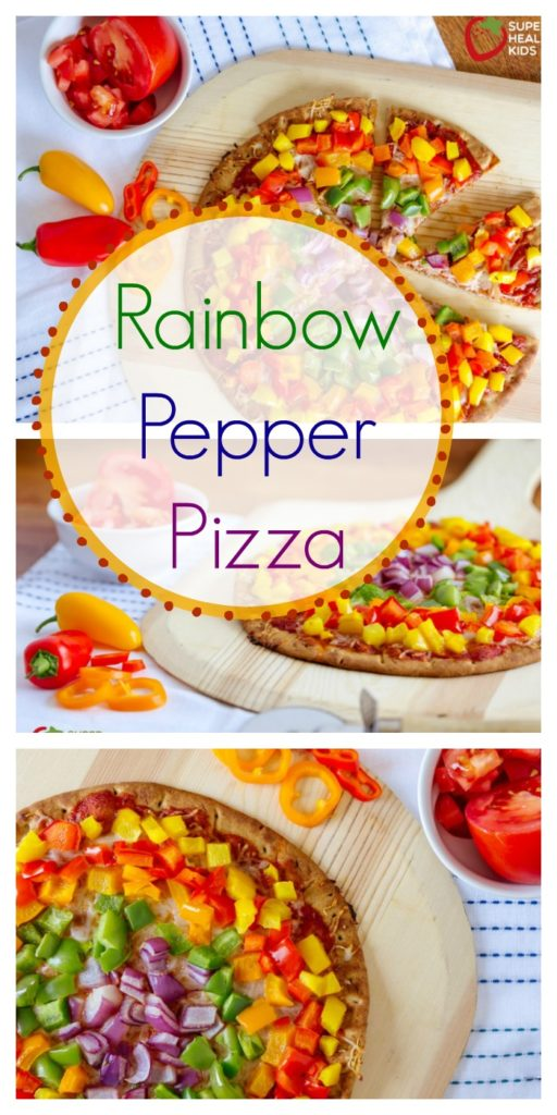rainbow bell pepper pizza with bell peppers and red onions