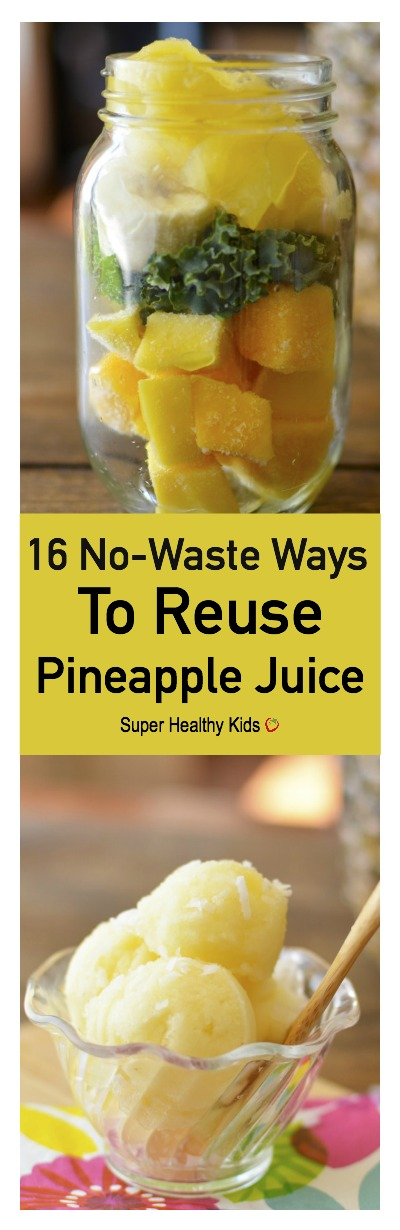 FOOD - 16 No Waste Ways To Reuse Pineapple Juice. Did you know you can bake with pineapple juice? I know one of these ideas you'll want to try today! https://www.superhealthykids.com/16-no-waste-ways-to-use-pineapple-juice/