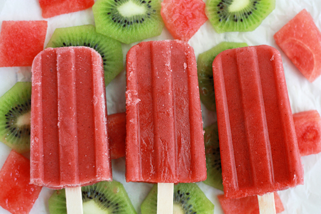 Strawberry Watermelon Kiwi Popsicles