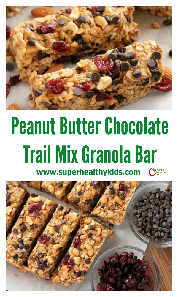 FOOD - These Peanut Butter Chocolate Trail Mix Granola Bars are made with wholesome ingredients to create homemade granola bars you feel good about eating. http://www.superhealthykids.com/peanut-butter-chocolate-trail-mix-granola-bars/