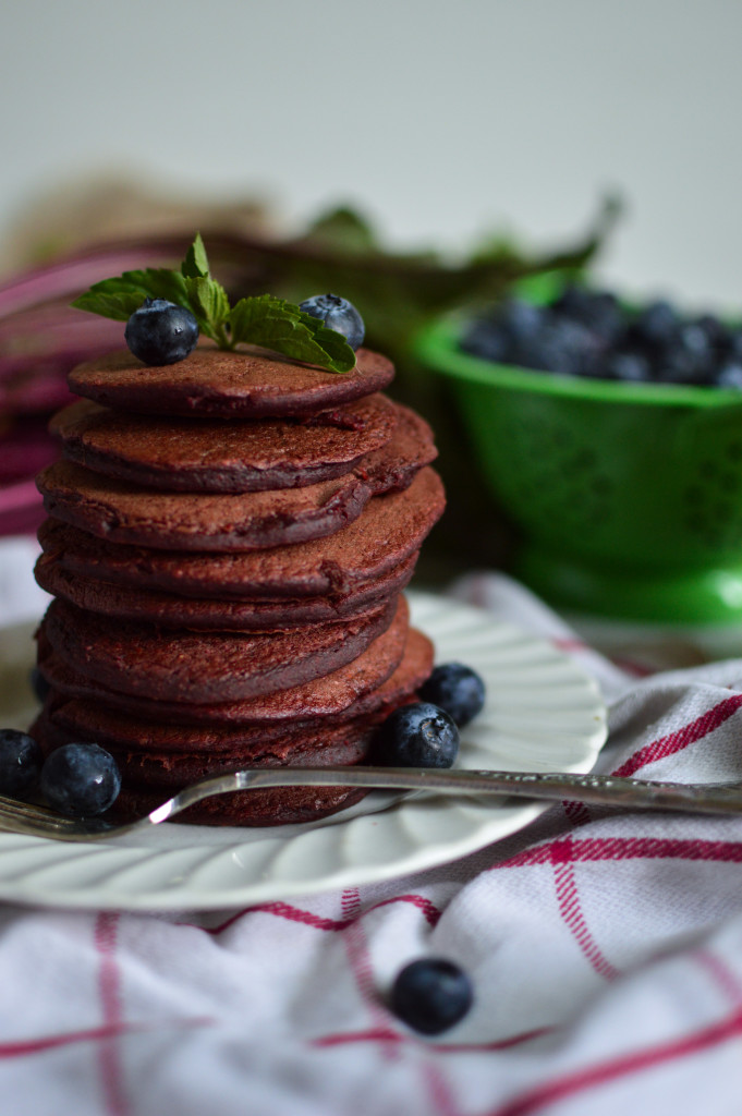 Natural Red Velvet Oatmeal Pancakes. These are delicious and healthy!