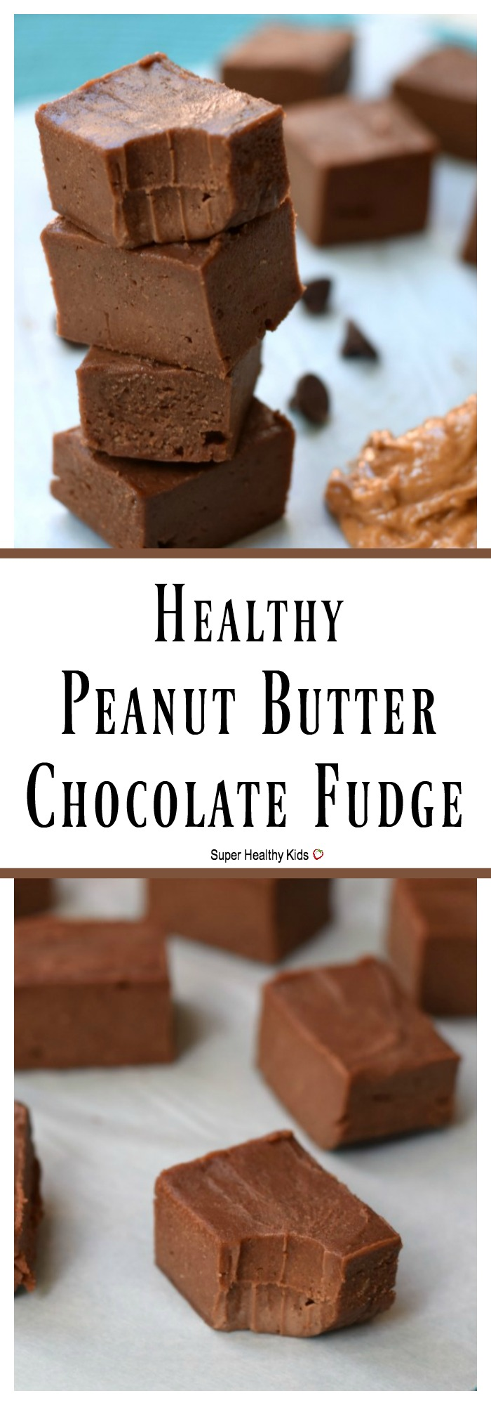 FOOD - Healthy Peanut Butter Chocolate Fudge. So creamy, and decadent you would never know there is fruit in it! http://www.superhealthykids.com/healthy-peanut-butter-chocolate-fudge/