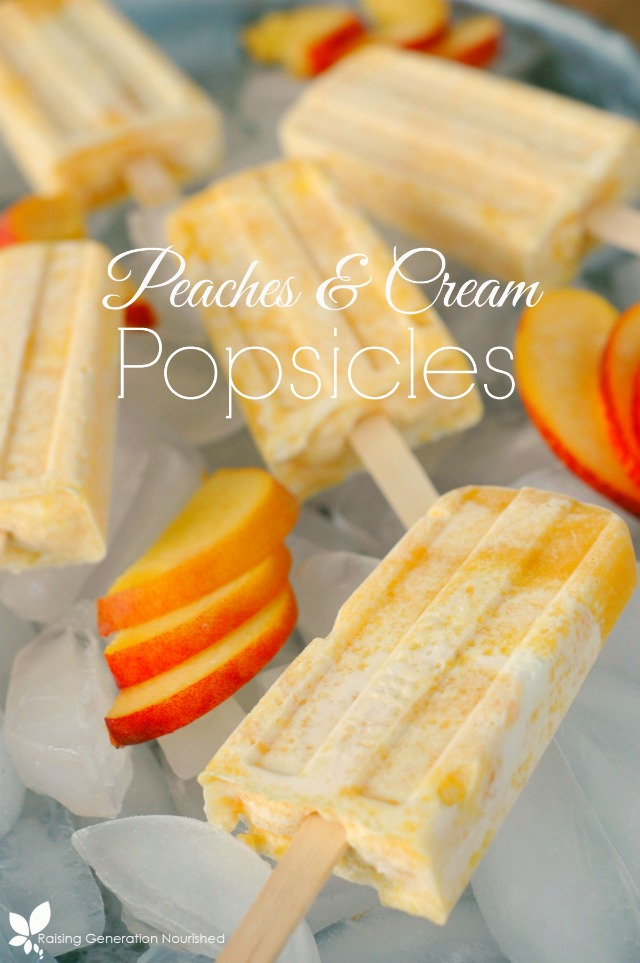 Peaches And Cream Popsicles.  Creamy, delicious and full of fresh ingredients!  www.superhealthykids.com